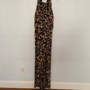 THALIA SODI Gold Chain Neck,Jumpsuit Leopard Print